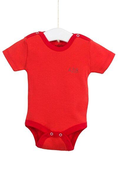 Aziz Bebe Unisex Bebek Kırmızı Kısa Kollu Çıtçıtlı Badi 12-36 Ay