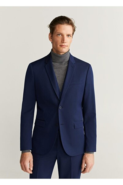 MANGO Man Erkek Mavi Blazer Ceket