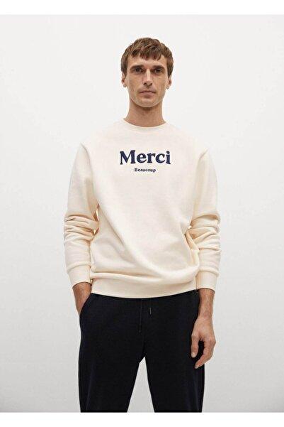 MANGO Man Organik Pamuklu Yazılı Sweatshirt