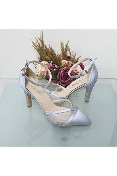 Almera's Shoes Kadın Gümüş Saten Sivri Topuklu Stiletto Abiye Ayakkabı Almeras001