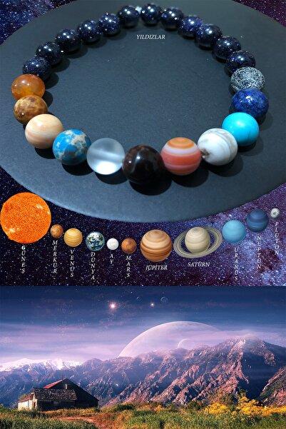 Özel Tasarım Sıralı Gezegenler Güneş Sistemi Doğal Taş Unisex Bileklik