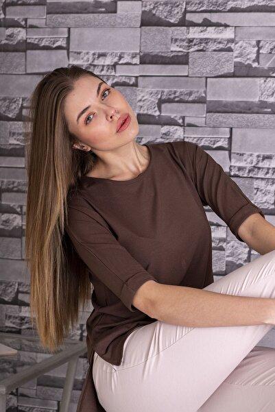 STAMINA Kadın Bisiket Yaka Yarım Kollu Bluz