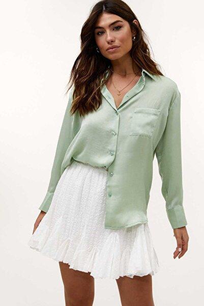 Madmext Kadın Su Yeşil Saten Gömlek Mg919
