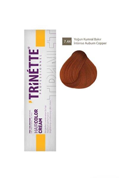 TRİNETTE Profesyonel Saç Boyası 7.44 Yoğun Kumral Bakır 60 ml