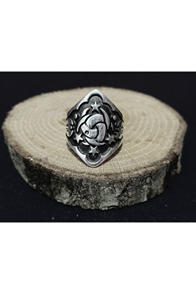 BGRcollection Okçu Yüzüğü/ Zihgir Yüzük Işlemeli Gümüş Kaplamalı Ayarlanabilir