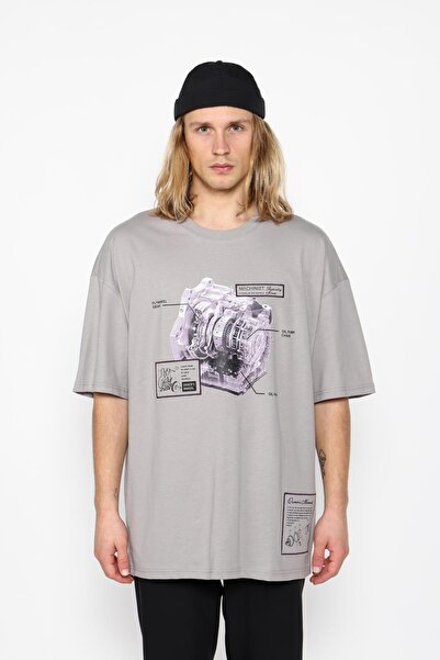 Oksit Erkek Gri Mach1323 Industry Oversize T-shirt
