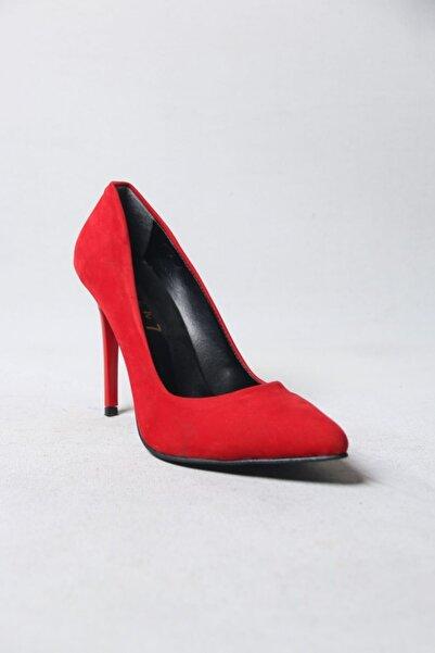 SEVEN7 Stiletto Kırmızı Süet