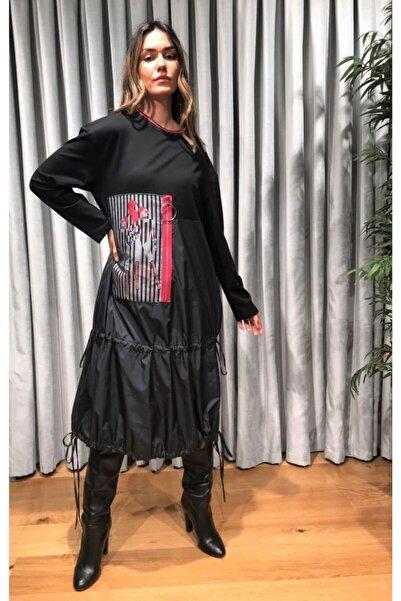 Say Kadın Siyah Kız Robası Iki Iplik Aplikeli Eteği Paraşüt Elbise