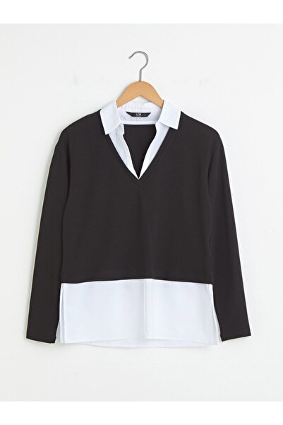 LC Waikiki Kadın Siyah Gömlek Detaylı V Yaka Bluz