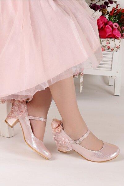 Kiko Kids Kız Çocuk Pudra 4 cm Topuk Babet Ayakkabı