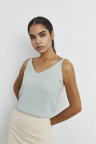adL Kadın Mint Ayarlamalı Askılı Bluz