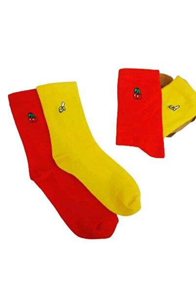 İkonik Socks 2'li Kiraz+muz Nakışlı Çorap