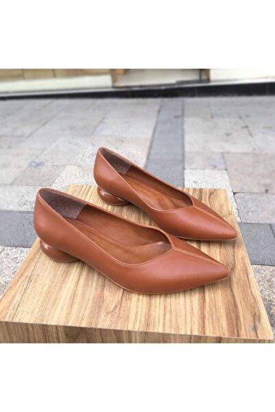 gloriyshoes Taba Cilt Tasarım Topuklu Ayakkabı