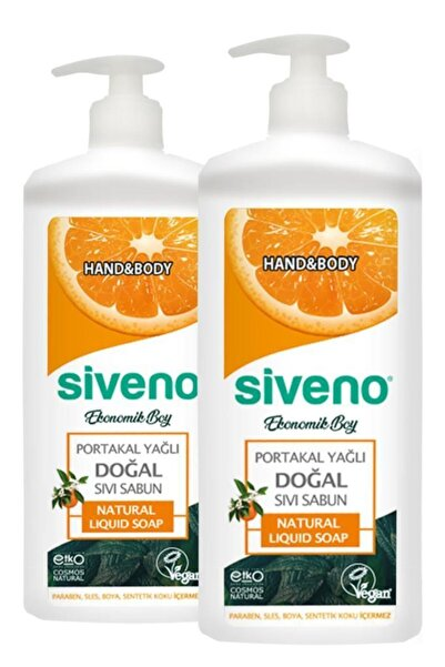Siveno Portakal Yağlı Doğal Sıvı Sabun 1 Lt X 2 Adet