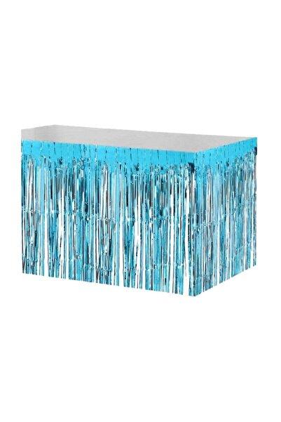 mercantoptan Metalize Mavi Püsküllü Masa Eteği 400*75cm