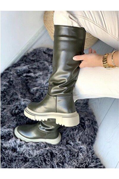 Sista Shoes Kadın Haki Balenli Çizme