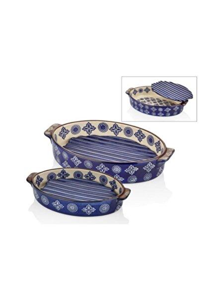 Cemile 23+28cm Oval Porselen 2 Li+nihaleli Mavi Fırın Kabı 036bp