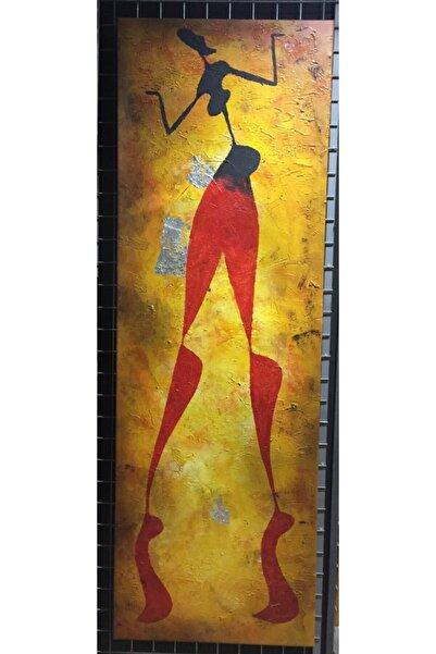 DİZAYNÇERÇEVERESİM Yağlı Boya Afrikalı Modern Kasnaklı Resim 50x150cm