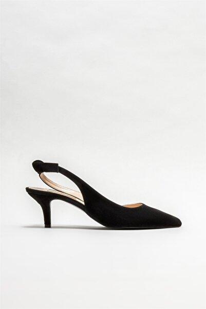 Elle Siyah Deri Kadın Topuklu Ayakkabı