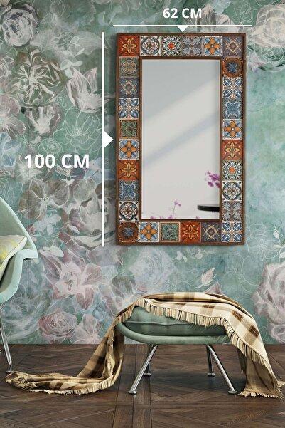 bluecape Doğal Ağaç 62x100 Cm Çerçeveli (aynasız) El Yapımı Çini Seramik Kaplı Salon Boy Aynası (aynasız)