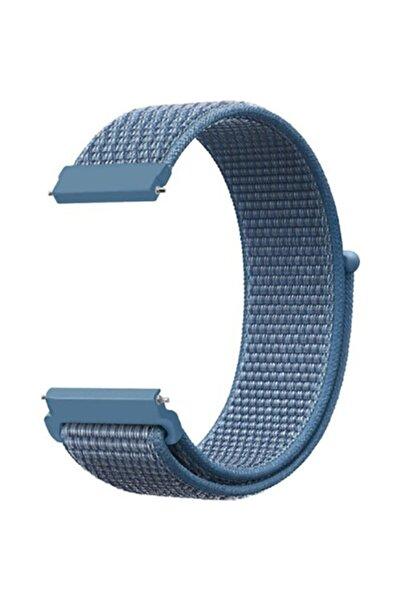 Mobicas Samsung Galaxy Watch Active 2 Uyumlu  (20mm) Kumaş Desenli Çırtçırlı Kayış-kordon Mavi