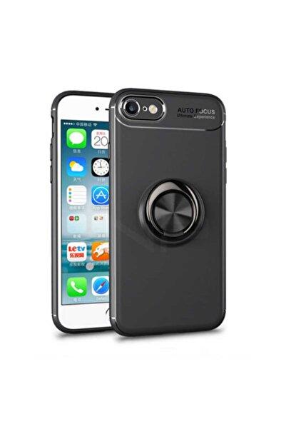 cepsesuar iPhone 7 Kılıf Ravel Yüzüklü Magent Standlı Siyah