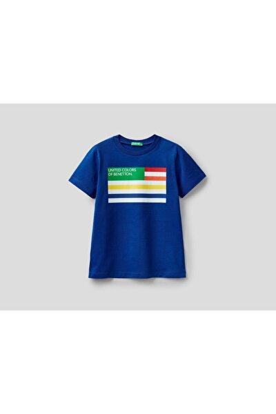 United Colors of Benetton Erkek Çocuk Lacivert Yazılı Tshirt