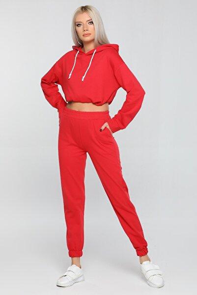 julude Kadın Kırmızı Kapüşonlu Bel Büzgülü Eşofman Takımı