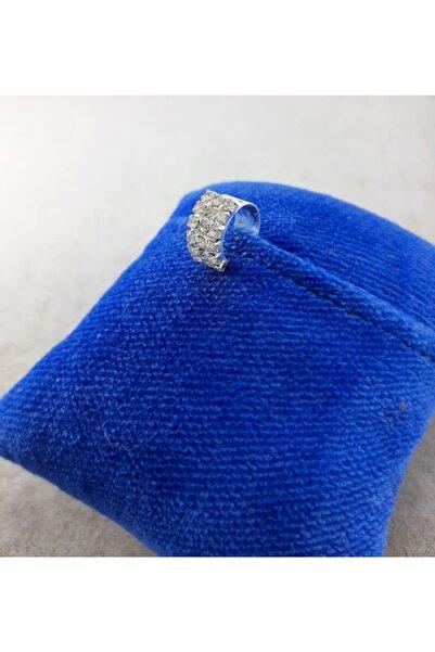 TÜKKAN ACCESSORİES Swarovski Taşlı Gümüş Kaplama Kıkırdak Küpe