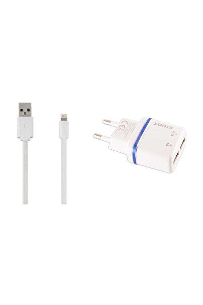 Sunix iPhone Hızlı Şarj Aleti 2.1A Lightning Kablolu Beyaz