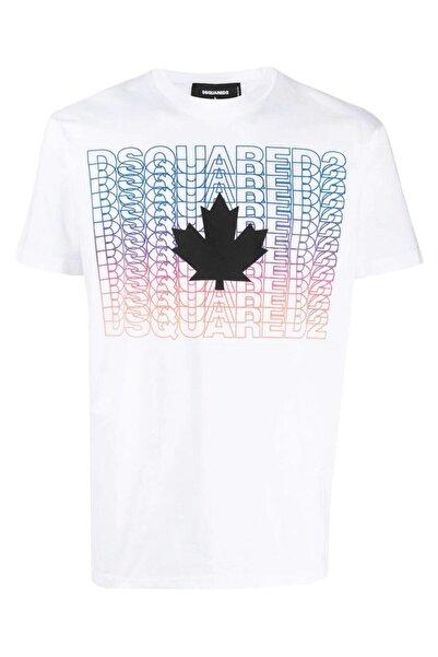 DSquared2 Erkek Beyaz Graphic Print Cotton Tshirt