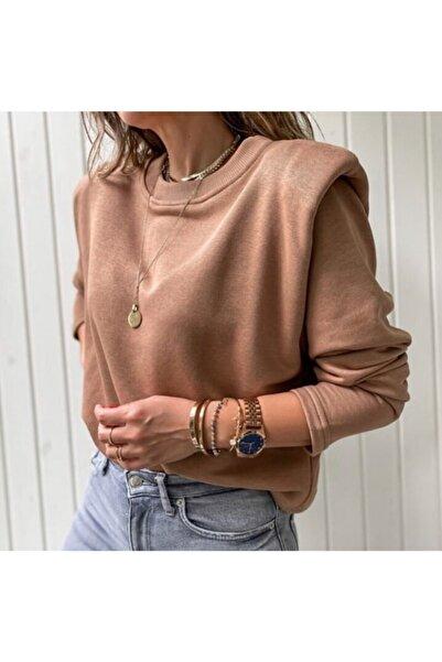 Flow Kadın Camel Vatkalı Sweatshirt Bluz