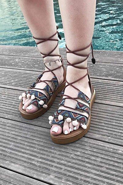 SOBY SHOES Kadın Lacivert Günlük Ip Bağlamalı Sandalet Soby11050011
