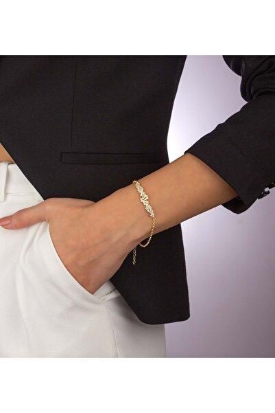 Else Silver Doc Zincirli Pırlanta Modeli Serpme Taşlı Gümüş Bileklik