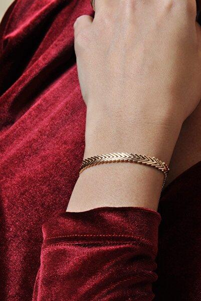 PinkGoldStore Herringbone 14 Ayar Altın Bileklik