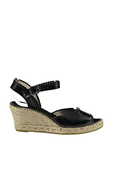 Derimod Hakiki Deri Siyah Kadın Dolgu Topuklu Ayakkabı