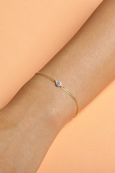 PinkGoldStore Pembe Altın Cavaliere Mavi Göz Bileklik