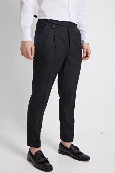 Fc Plus Erkek Siyah Havuç Kalıp Britli Çift Pileli Erkek Pantolon