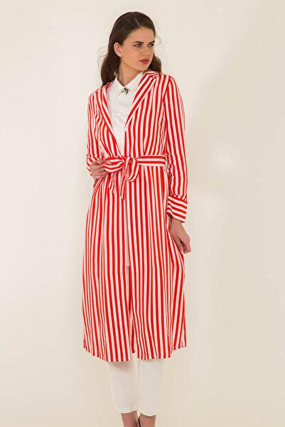 Olcay Kadın Kırmızı Sırtı Gül Detaylı Çizgili Spor Ceket 8125