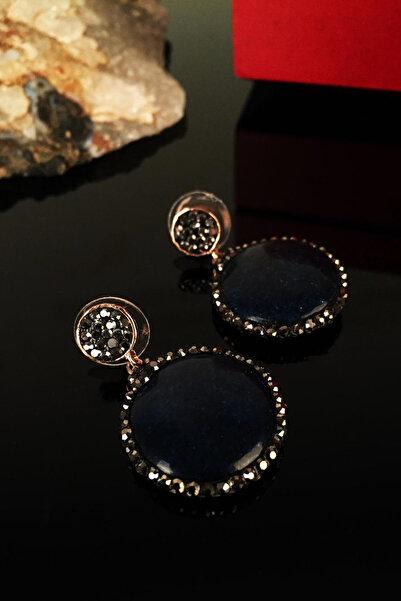 Dr. Stone Kadın Doğaltaş Lapis Lazuli Taşı Rose Altın Kaplama Küpe Krb128