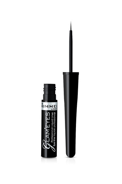 RIMMEL LONDON Siyah Eyeliner - Glam'Eyes Professional Liquid Eyeliner Black Glamour 3607344174083