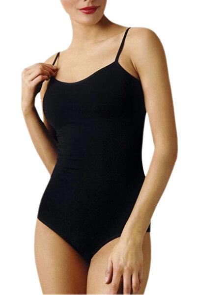 Namaldı Kadın Siyah İp Askılı Kancalı Çıtçıtlı Body ELF568N261CCM