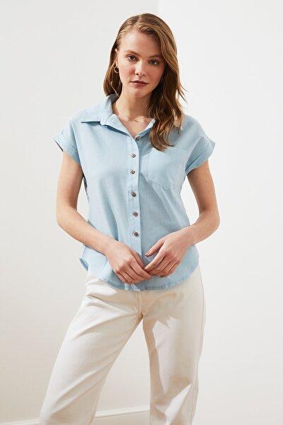 TRENDYOLMİLLA Mint Klasik Gömlek TWOAW20GO0081