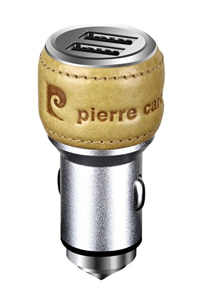 Pierre Cardin Araç Şarjı Aliminyum Gövde Taba Deri Kaplama Çift USB
