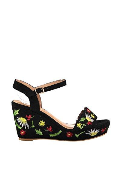 Derimod Siyah Kadın Dolgu Topuklu Ayakkabı