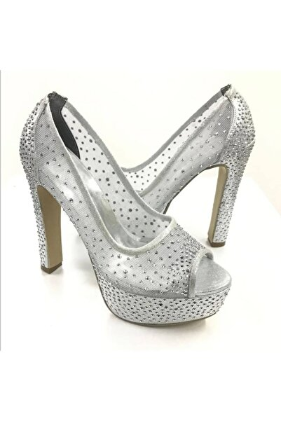 Almera's Shoes Kadın Gümüş Taş Detaylı Abiye Ayakkabı Almeras005