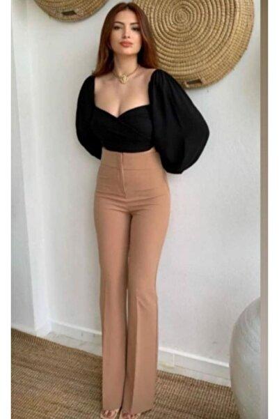 Queens Kadın Yüksek Bel Geniş Paça Pantolon