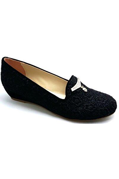 Alens 38,42 Numara Siyah Dantel Işlemeli Kadın Ayakkabı
