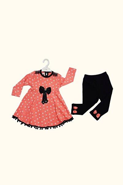Bebe Kız Bebek Pembe Kurdeleli Puantiyeli Elbiseli Taytlı Takım