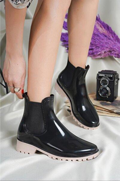 EMMY CLUB Kadın Yağmur Botu Siyah/nude